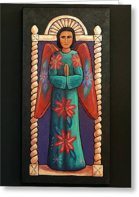 Retablos Greeting Cards - Angel Greeting Card by Candy Mayer