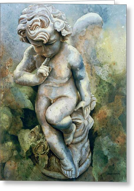 Winged Sculptures Greeting Cards - Angel-cherub Greeting Card by Eve Riser Roberts