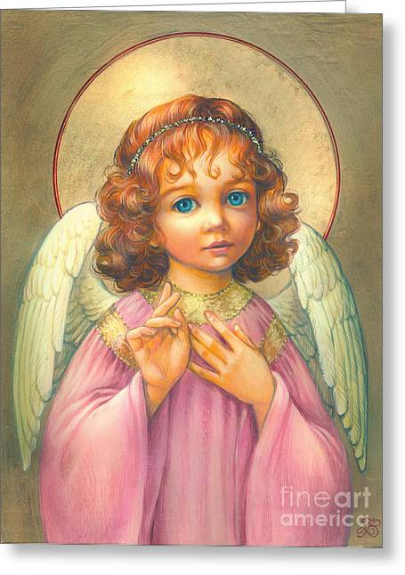 Boy Praying Greeting Cards - Angel Child Greeting Card by Zorina Baldescu