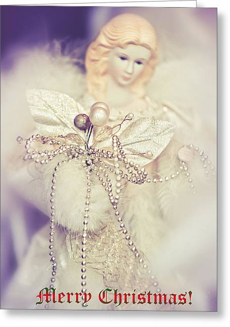Vinatge Greeting Cards - Angel Coming. Merry Christmas  Greeting Card by Jenny Rainbow