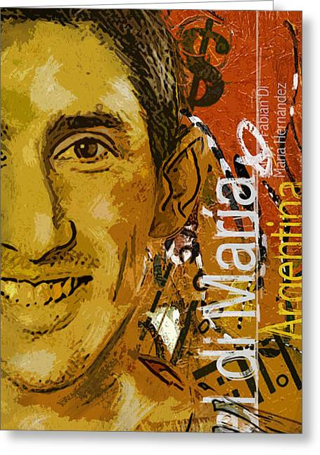 Qatar Greeting Cards - Angel Di Maria - B Greeting Card by Corporate Art Task Force