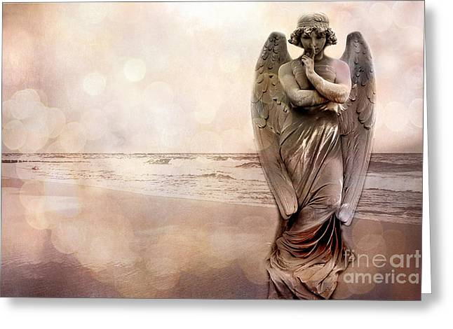 Ethereal Angel Art Greeting Cards - Angel Ethereal Spiritual Fine Art - Angel Art Quiet Surreal Ocean Scene Greeting Card by Kathy Fornal