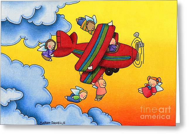 Uplifting Drawings Greeting Cards - Angel Flight Greeting Card by Sarah Batalka