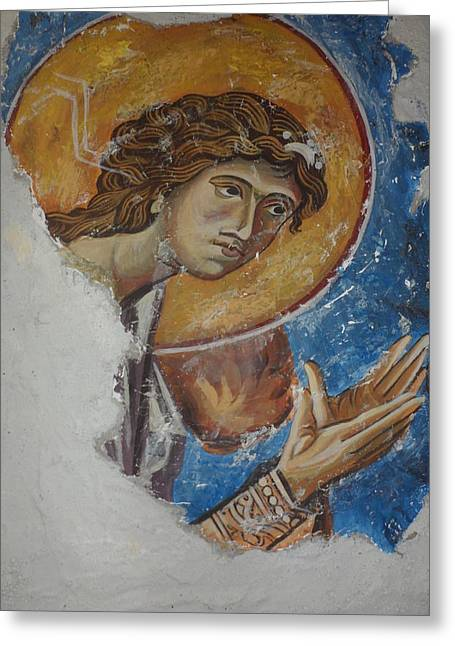 Fresco Reliefs Greeting Cards - Angel from Kurbinovo Greeting Card by Antoni Golabovski