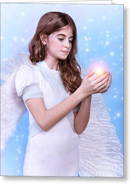 Saint Hope Greeting Cards - Angel girl Greeting Card by Anna Omelchenko