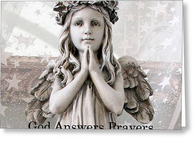 Angel Art Greeting Cards - Angel Girl Praying - Christian Angel Art - Little Girl Praying Angel Art - God Answers Prayers Greeting Card by Kathy Fornal
