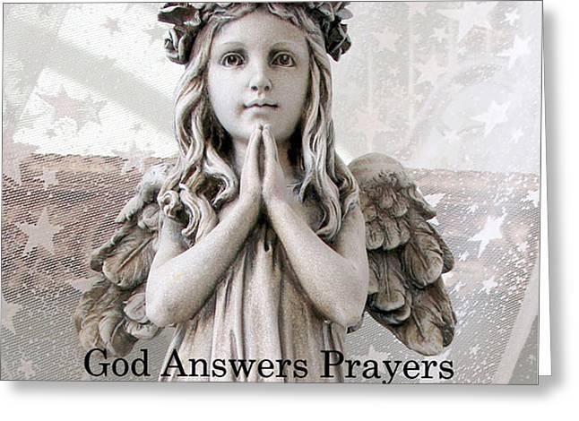 Angel Girl Praying - Christian Angel Art - Little Girl Praying Angel Art - God Answers Prayers Greeting Card by Kathy Fornal