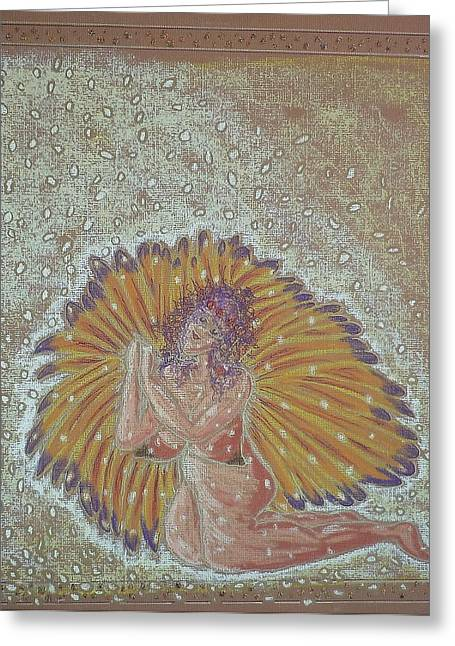 Virgin Pastels Greeting Cards - Angel Giving Thanks For the Manna Greeting Card by Lyn Blore Dufty