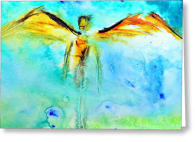 Guardian Angel Greeting Cards - Angel Guardian Greeting Card by Ivan Guaderrama