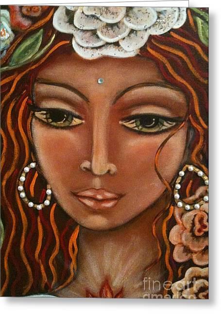 Winged Goddess Mixed Media Greeting Cards - Angel Heart Greeting Card by Maya Telford