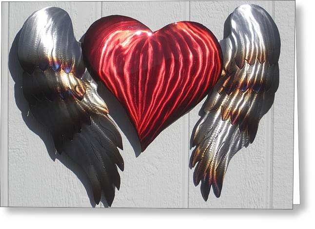 Steel Sculptures Greeting Cards - Angel Heart wall sculpture Greeting Card by Robert Blackwell