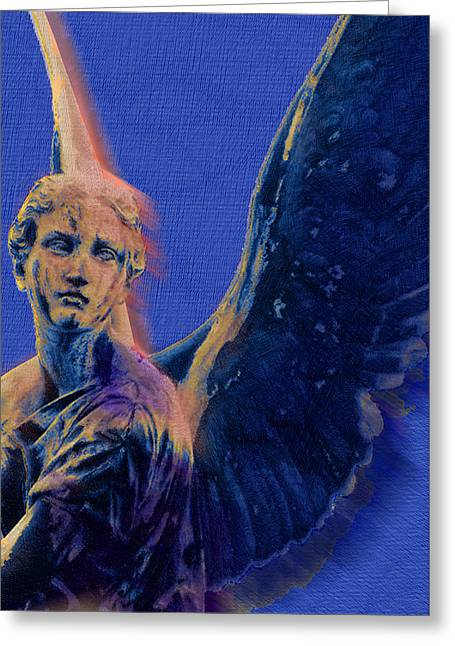 Pensive Mixed Media Greeting Cards - Angel in Blue and Gold Greeting Card by Tony Rubino
