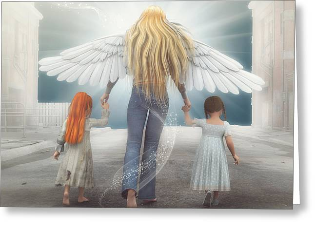 Angel Blues Greeting Cards - Angel in Blue Jeans Greeting Card by Jutta Maria Pusl