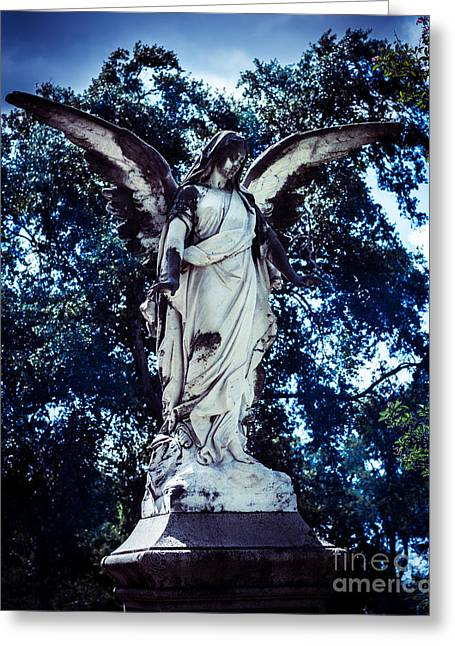 Religious Photographs Greeting Cards - Angel in blue Greeting Card by Sonja Quintero