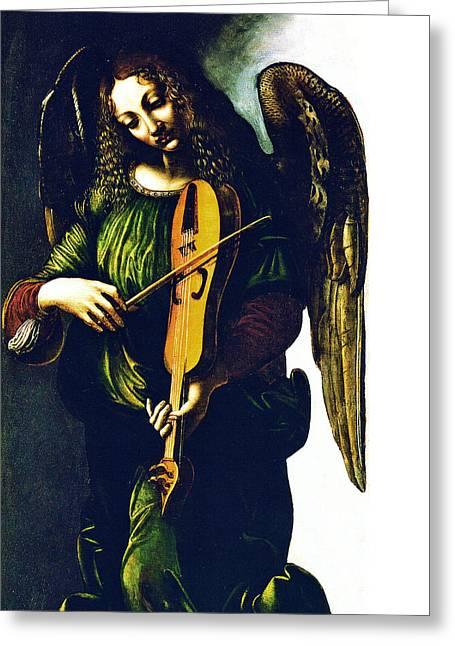Playing Angels Digital Greeting Cards - Angel in Green Greeting Card by Munir Alawi