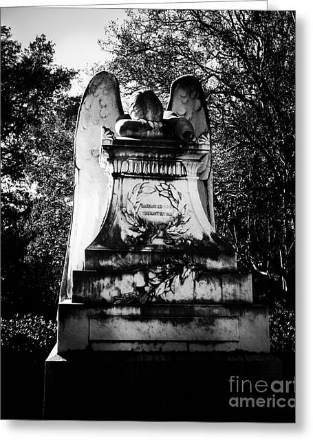 Religious Art Photographs Greeting Cards - Angel in Grief Greeting Card by Sonja Quintero