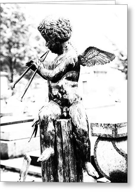 Cemeteries Of Paris Greeting Cards - Angel in Montmartre Greeting Card by Nomad Art And  Design