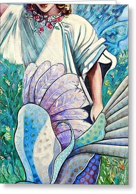 Angel Blues Greeting Cards - Angel in my Garden Greeting Card by Susan Robinson