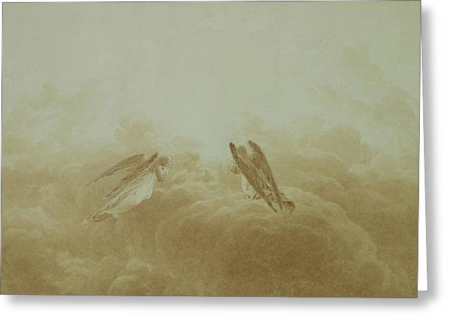 Flying Angel Greeting Cards - Angel in Prayer Greeting Card by Caspar David Friedrich