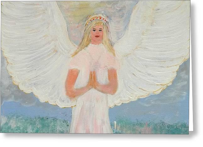 Metaphysics Paintings Greeting Cards - Angel in prayer Greeting Card by Karen J Jones