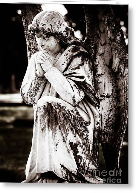 Praying Hands Photographs Greeting Cards - Angel in Prayer Greeting Card by Sonja Quintero