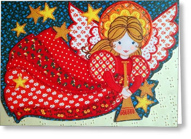 Cards Vintage Greeting Cards - Angel in Red Greeting Card by Munir Alawi