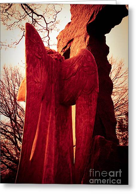 Historical Cemetery Greeting Cards - Angel in Red Greeting Card by Sonja Quintero