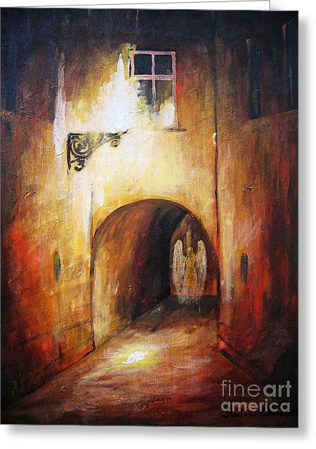 The Nature Center Paintings Greeting Cards - Angel in the Alley Greeting Card by Dariusz Orszulik