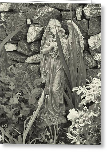 Garden Statuary Greeting Cards - Angel in the Garden  Greeting Card by Cathy Anderson