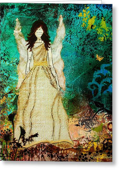 Religious Angel Art Greeting Cards - Angel In The Garden Inspirational abstract Mixed Media Art Greeting Card by Janelle Nichol
