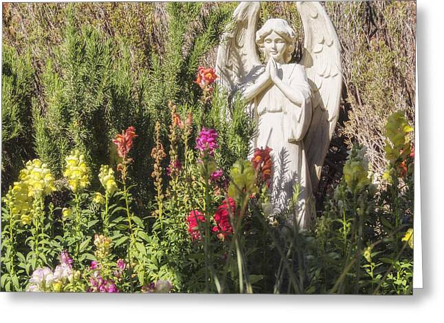 Garden Statuary Greeting Cards - Angel in the Garden Greeting Card by Marianne Campolongo