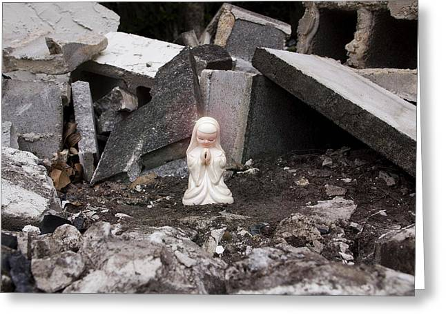 Christ Child Greeting Cards - Angel in the Rubble Greeting Card by William Patrick