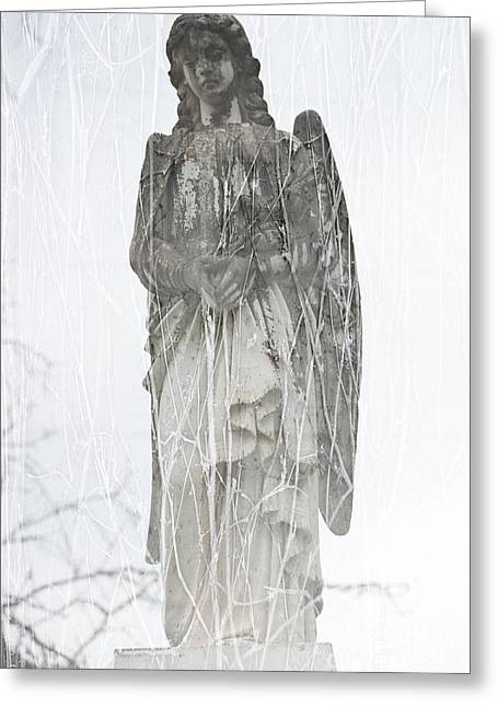 Headstones Greeting Cards - Angel in the vines Greeting Card by Sonja Quintero