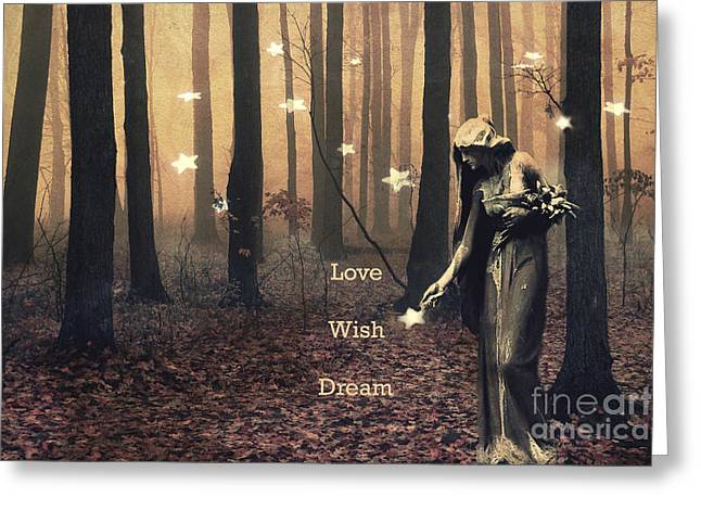 Inspirational Angel Art Greeting Cards - Angel Inspirations - Inspirational Angels Ethereal Spirit Female Haunting Fantasy Woodlands  Greeting Card by Kathy Fornal