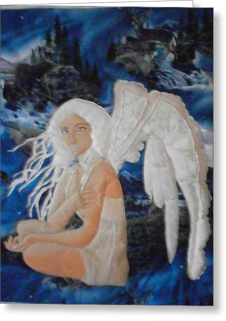 Angel Art Tapestries - Textiles Greeting Cards - Angel Island Greeting Card by Linda Egland