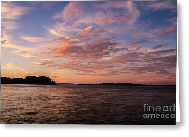 Richmond-san Rafael Bridge Greeting Cards - Angel Island Sunset Greeting Card by Mitch Shindelbower