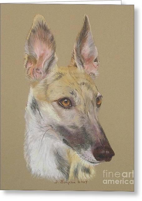 Greyhound Dog Pastels Greeting Cards - Angel Greeting Card by Joanne Simpson