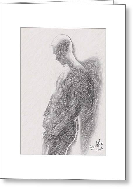 Recently Sold -  - Abstract Digital Drawings Greeting Cards - Angel backlit Greeting Card by Quim Abella