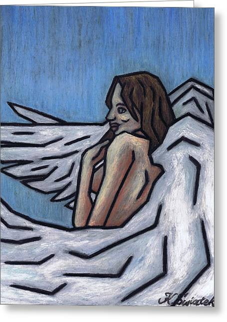 Women Only Pastels Greeting Cards - Angel Greeting Card by Kamil Swiatek