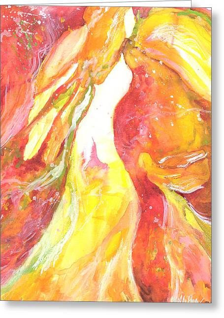 Gold Angel Greeting Cards - Angel Greeting Card by Kelly Perez
