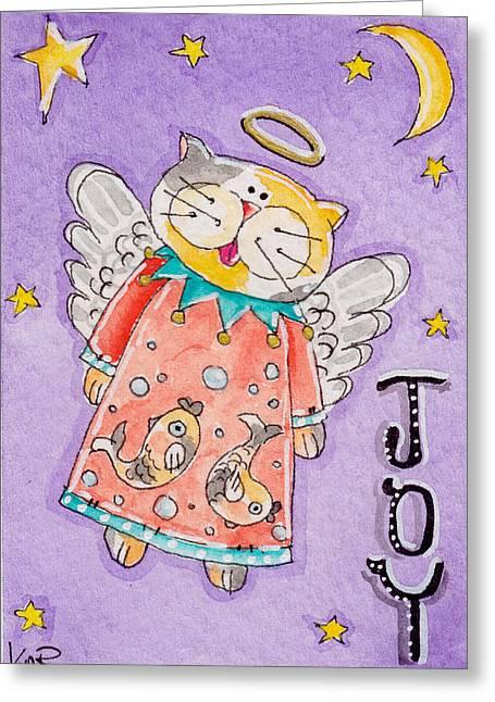Artisan Made Greeting Cards - Angel Kitty - Joy Greeting Card by K Nicole Rogalski