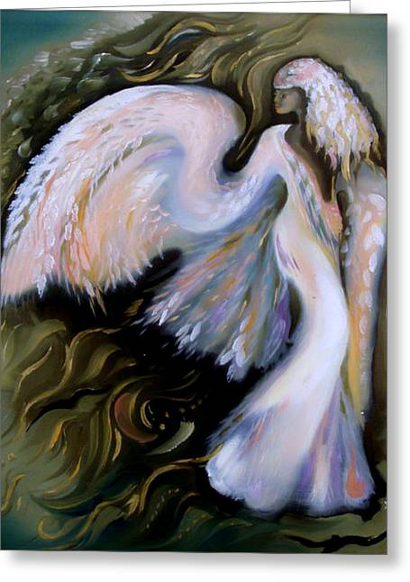 Spiritual Jewelry Greeting Cards - Angel Greeting Card by Krystyna Sikora