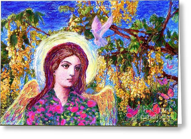 Pink Blossoms Greeting Cards - Angel Love Greeting Card by Jane Small
