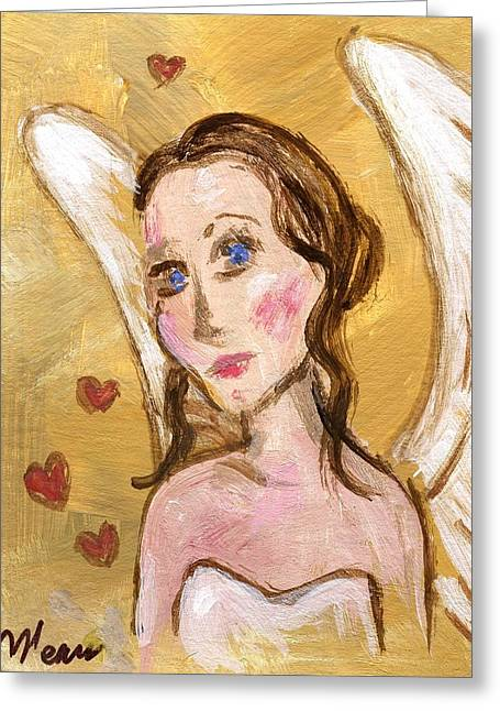 Folk Art Greeting Cards - Angel Love Greeting Card by Linda Mears