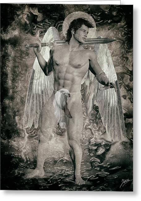 Freethinker Greeting Cards - Angel mercenary By Quim Abella Greeting Card by Joaquin Abella