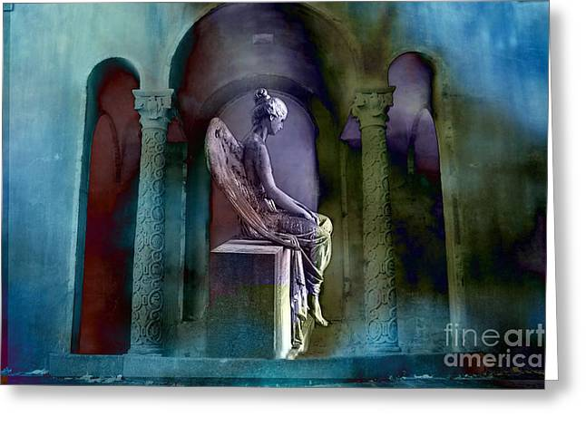 Angel Photos Greeting Cards - Angel Mourning Sadness - Haunting Fantasy Surreal Angel Art Teal Aqua Purple  Greeting Card by Kathy Fornal