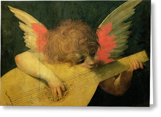 Putti Greeting Cards - Angel Musician Greeting Card by Giovanni Battista Rosso Fiorentino