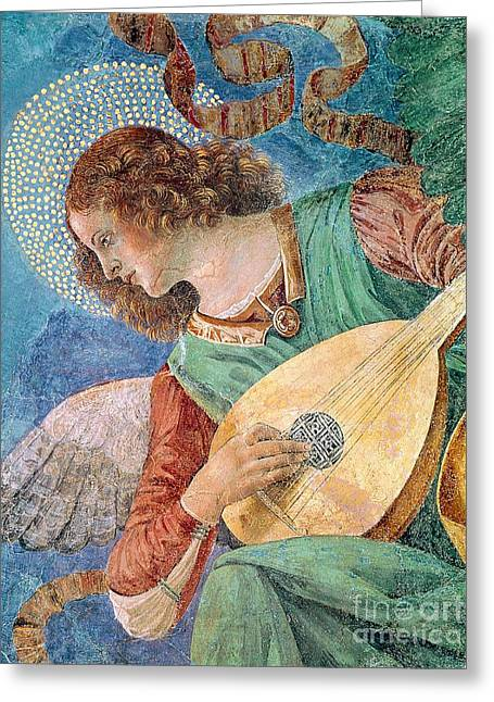 Archangel Greeting Cards - Angel Musician Greeting Card by Melozzo da Forli
