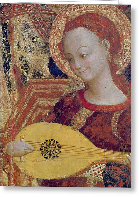 Strumming Greeting Cards - Angel Musician Greeting Card by Sassetta