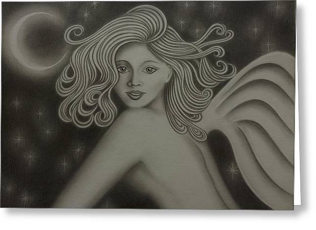 Night Angel Drawings Greeting Cards - Angel Nouveau Greeting Card by Dennis Furioso
